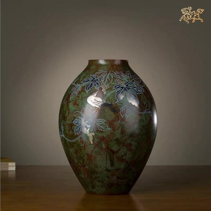 12 inches Japan Takaoka Art Deco Pure Brass Flowers and birds Vase Bottle Bronze Pot Home Furnishings gift - LikeRE Marketplace
