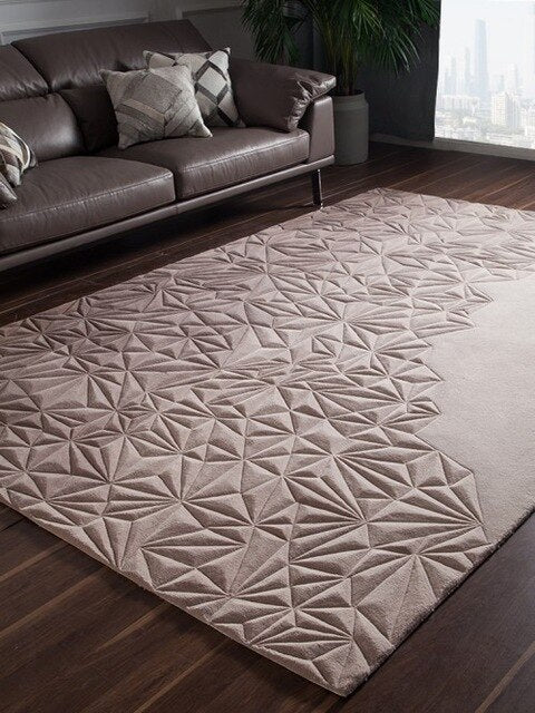 Handmade 3D Sculptured  New Zealand wool  living room carpet, big size bedside rug  home decoration carpet, villa rug
