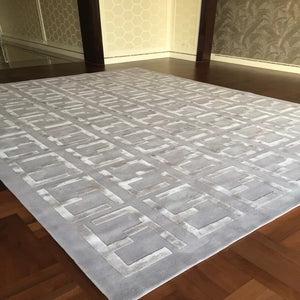 New Zealand Wool plus Silk Grey Silver 3D F letterRug ,Sofa Area living room Hand Carved carpet, Can be Customized Size/Color