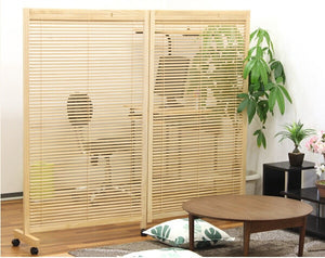Japanese Movable Wood Partition Wall 2-Panel Folding Screen Room Divider Home Decor Oriental Decorative Portable Asian Furniture