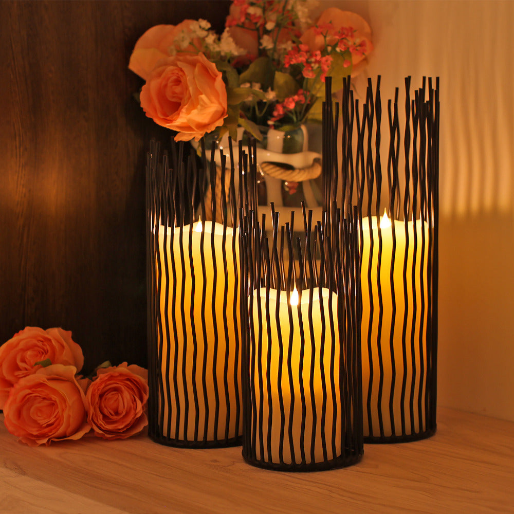 GiveU Metal Willow Candleholder Set of 3, Black, 8/10/12 inch Height, Functional Table Decoration