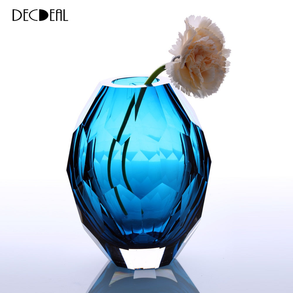 Vase Hand Polishing Home Art Decoration Vase for Room Decals Glass Vase Hand-blown Vintage Elegant Flower Vase