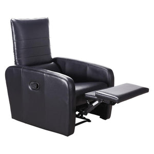 Giantex Manual Recliner Sofa Chair Contemporary Foldable-Back Leather Reclining Chair Modern Living Room Furniture HW57305