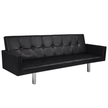 Load image into Gallery viewer, IKAYAA Artificial Leather Sofa Bed with Armrests Black For Living Room Furniture