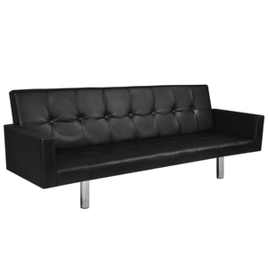 IKAYAA Artificial Leather Sofa Bed with Armrests Black For Living Room Furniture