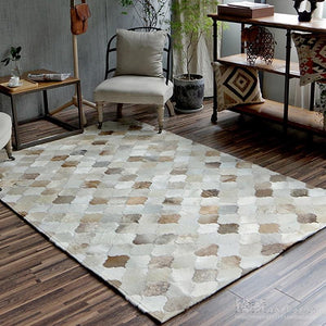 New European Style Luxurious Hand-Stitched Rug Living Room Bedroom Tea Table Big Carpets Geometric Pattern Custom Cowhide Carpet - LikeRE Marketplace