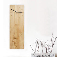 Load image into Gallery viewer, Japanese-style Natural Wooden Oak Rectangle Clock Home Tea Room Decoration Crafts Sculpture Art Pattern Needle Quartz Wall Clock