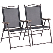 Load image into Gallery viewer, Giantex Set of 2 Patio Folding Sling Back Chairs Camping Deck Garden Beach Outdoor Furniture OP3568