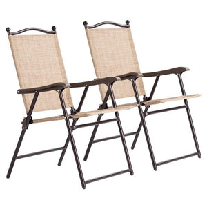 Giantex Set of 2 Patio Folding Sling Back Chairs Camping Deck Garden Beach Outdoor Furniture OP3568