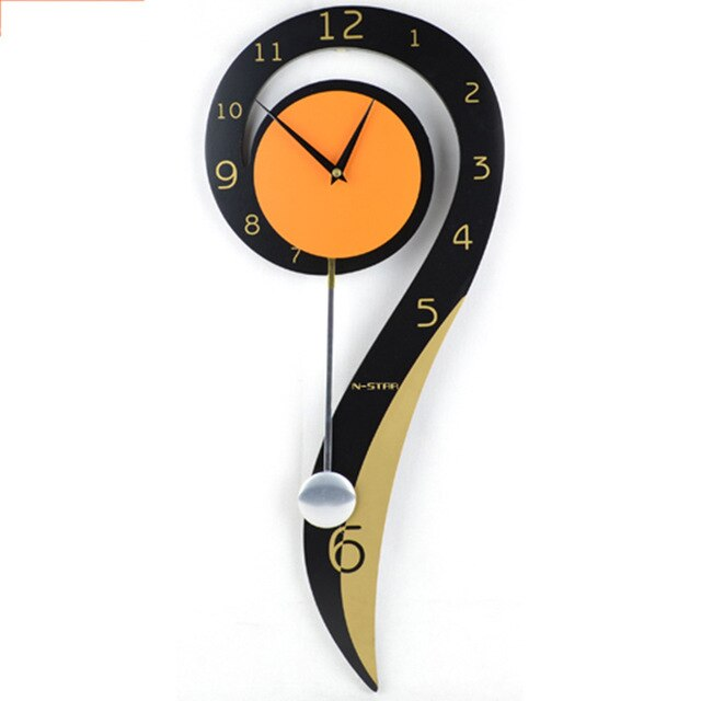 Creative Natural Wood Question Mark Musical Note Clock Living Room Decoration Xuan Guan Crafts Needle Digital Quartz Wall Clocks