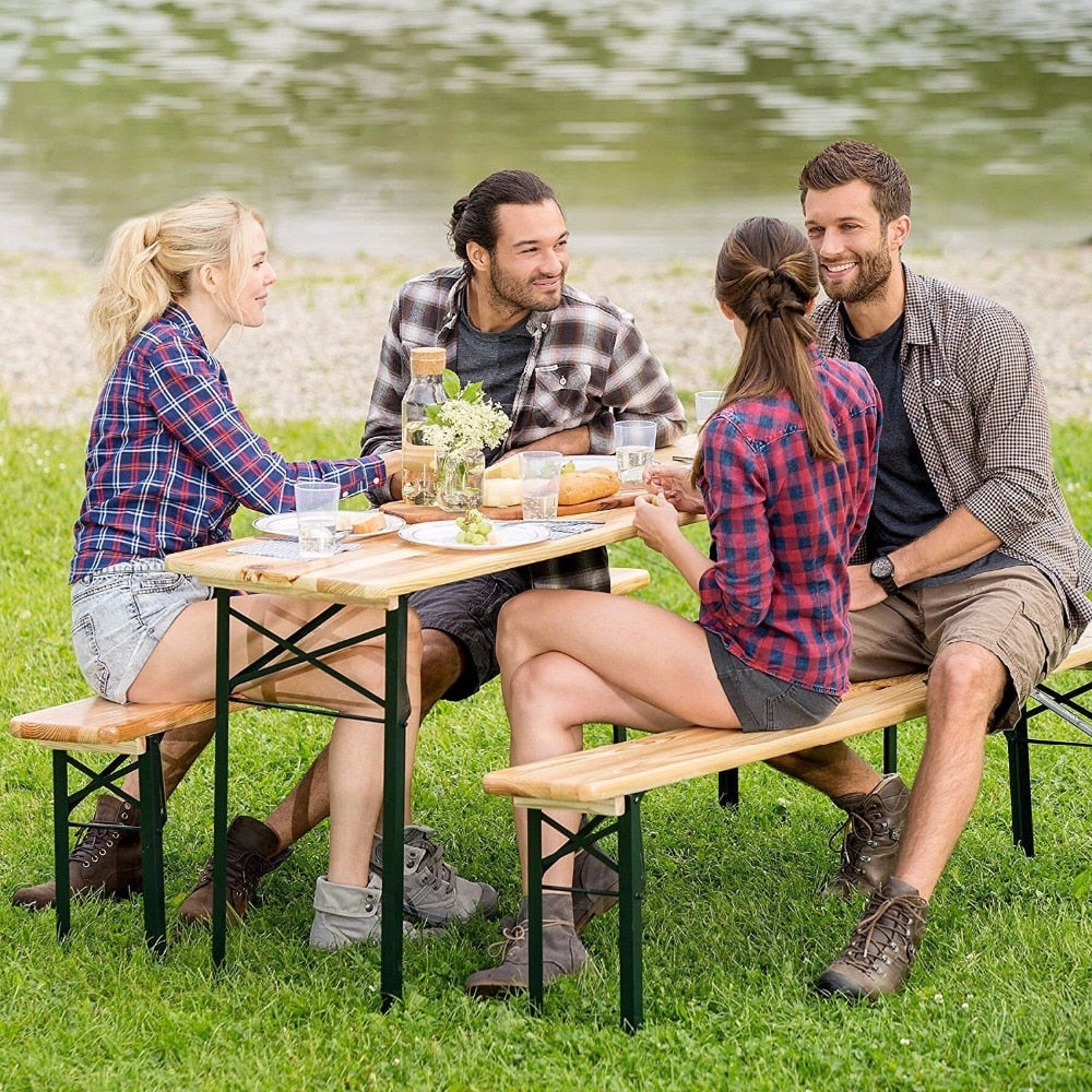 Giantex 3 PCS Outdoor Wood Picnic Table Beer Bench Dining Set Folding Wooden Top Patio Outdoor Furniture OP2837
