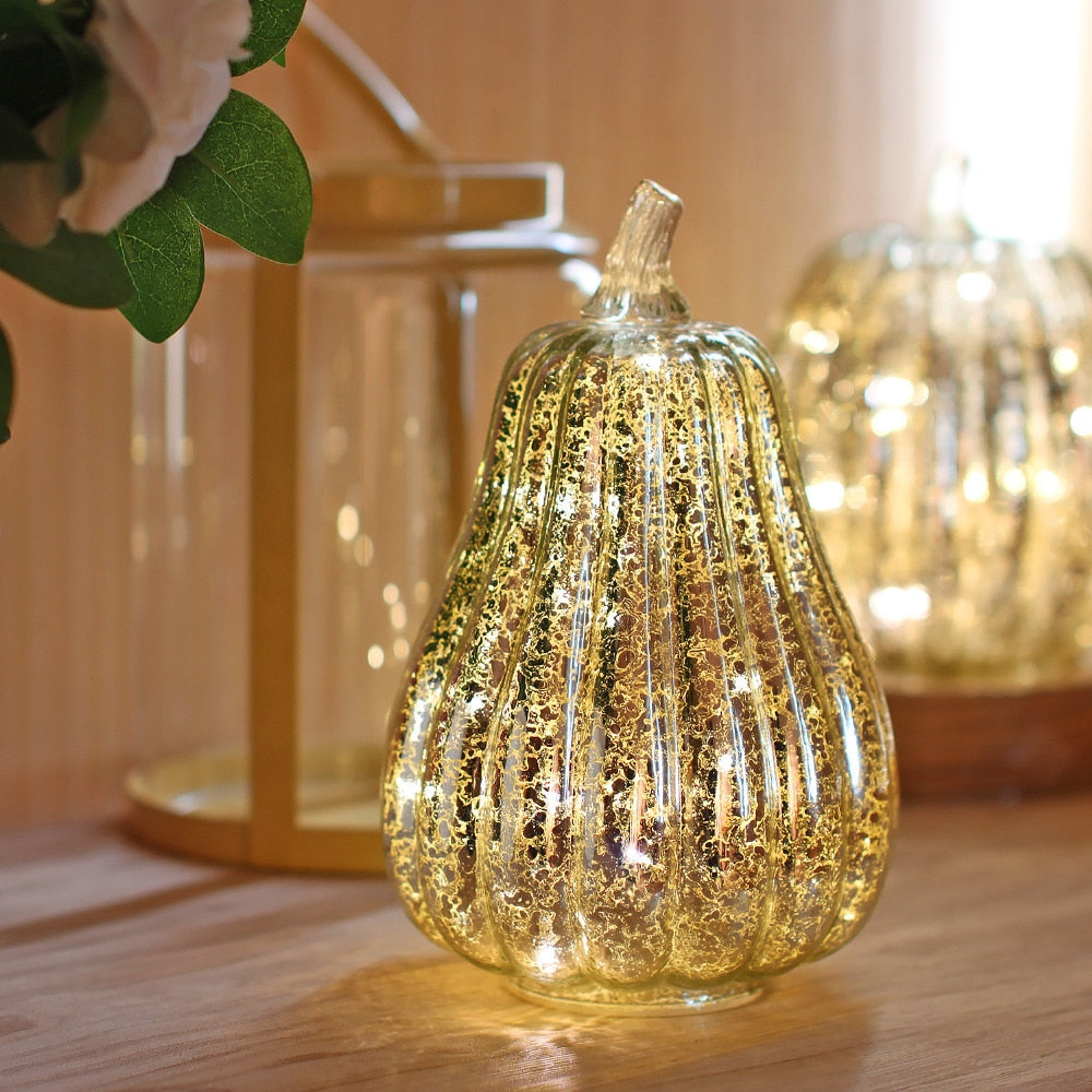 GiveU Mercury Glass Pumpkin Halloween and Thanksgiving Decor, Led light with Timer