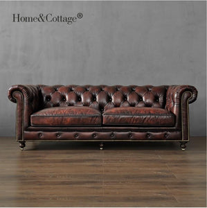 19th Century Club 226cm Sofa / 121cm Single Seat Couch / Package Included: 1x Seat-sofa, 1x Lover-sofa, 1x 226cm 3 seat Sofa - LikeRE Marketplace