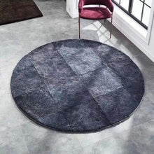 Load image into Gallery viewer, Simple style solid gray blue color natural sheepskin  fur rug , round shaped little curly soft  sheep fur living room carpet - LikeRE Marketplace