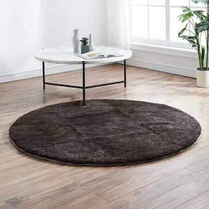Simple style solid gray blue color natural sheepskin  fur rug , round shaped little curly soft  sheep fur living room carpet - LikeRE Marketplace