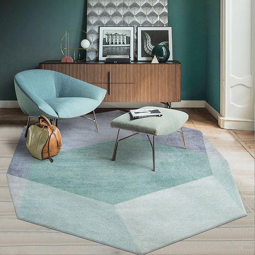 Unique irregular geometric living room rug, Nordic big size bedside carpet,  green mixed decoration office carpet ,ground mat - LikeRE Marketplace