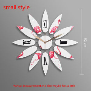Northern Europe Style Natural Solid Wooden Flower Shape Big Clock Home Bedroom Decoration Handmade Needle Quartz Mute Wall Clock