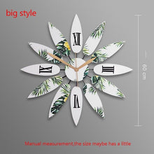 Load image into Gallery viewer, Northern Europe Style Natural Solid Wooden Flower Shape Big Clock Home Bedroom Decoration Handmade Needle Quartz Mute Wall Clock