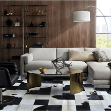 Load image into Gallery viewer, luxury cowhide seamed patchwork rug  , natural black and white cow skin chequer carpet  for living room, decoration office mat - LikeRE Marketplace
