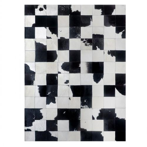 luxury cowhide seamed patchwork rug  , natural black and white cow skin chequer carpet  for living room, decoration office mat - LikeRE Marketplace
