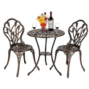 3 Piece set European Style Cast Aluminum Outdoor Tulip Bistro Set of Table and Chairs Bronze garden chair - LikeRE Marketplace