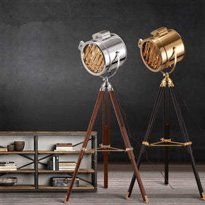 European vintage soft industrial wind studio searchlight creative stage stainless steel antique adjustable height tripod lamp