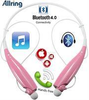 AllRing HBS730 Flexible Bluetooth Ver 4.0 Wireless Hand Free Sports Stereo Headsets Neckband Style Earphones - Pink - Gazoomba