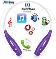 AllRing HBS730 Flexible Bluetooth Ver 4.0 Wireless Hand Free Sports Stereo Headsets Neckband Style Earphones - Purple - Gazoomba