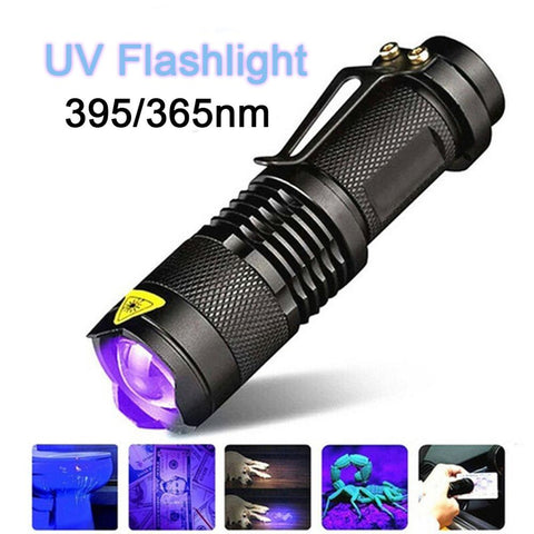 LED UV Flashlight Ultravioleta con función de zoom Mini UV mata virus y bacterias