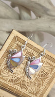 Silver 925 pendant earrings and mother of three butterfly-shaped pearl