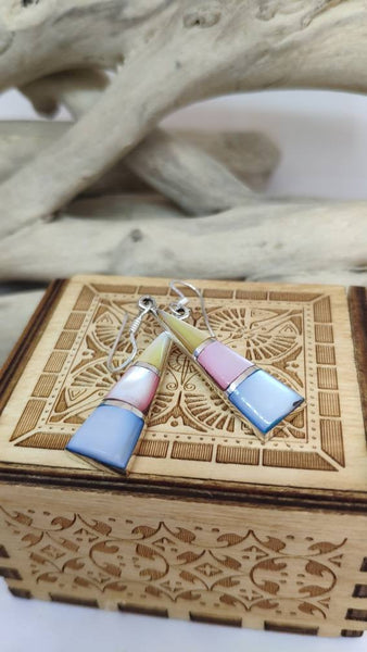 Silver 925 pendant earrings and mother of three colors. Handmade!