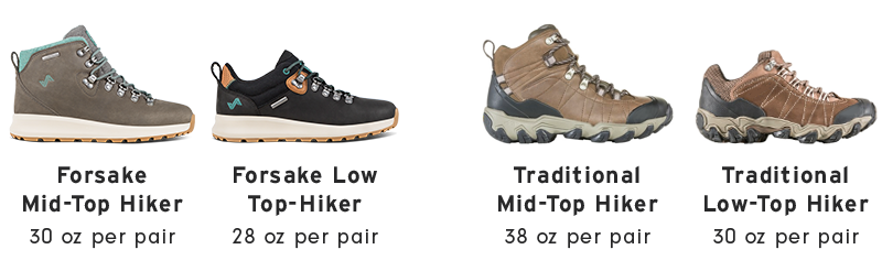 weight difference between low- and mid-top hiking shoes