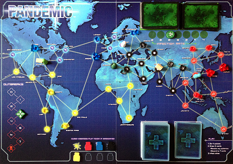 Pandemic map board - buy the game now from Rules of Play!