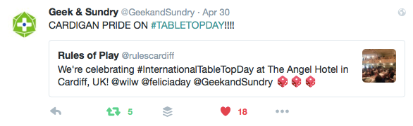 Geek and Sundry's tweets to us on TableTop Day