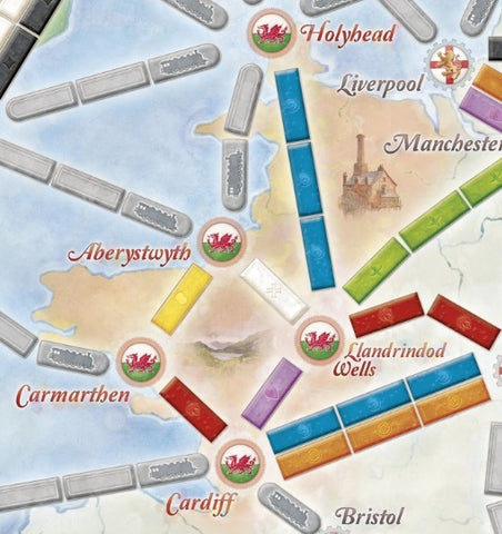 Wales section on the Ticket to Ride UK map