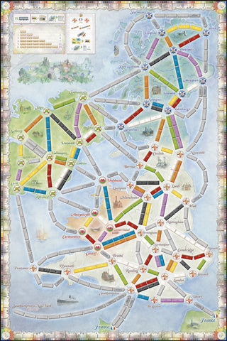 Ticket to Ride UK map from Rules of Play