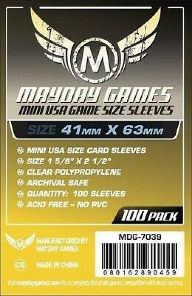 100 x Clear Mini American Card Sleeves 41mm x 63mm (Mayday)