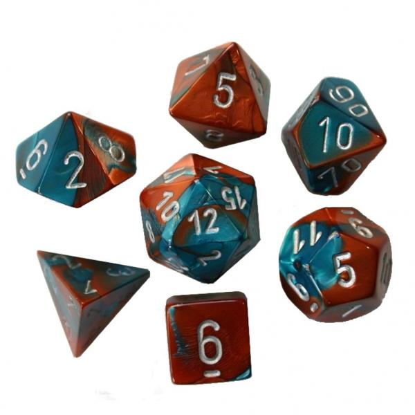 Poly Dice Set (7): Gemini Copper-Teal/silver