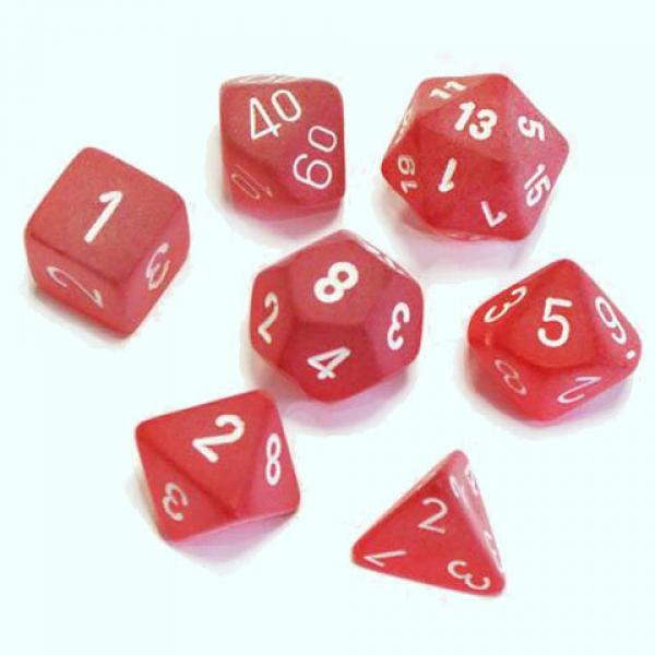 Poly Dice Set (7): Frosted Red/White