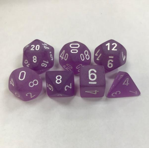 Poly Dice Set (7): Frosted Purple/White