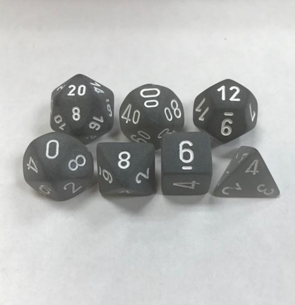Poly Dice Set (7): Frosted Smoke/White