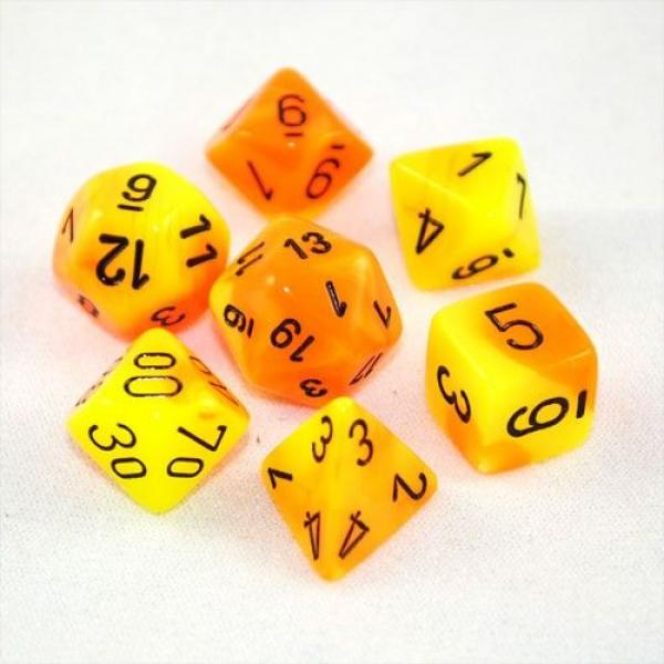 Poly Dice Set (7): Gemini Orange-Yellow/Black
