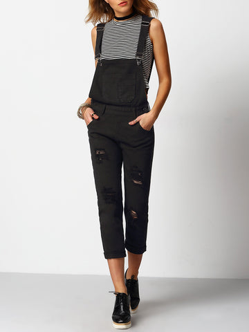 Women's Black Strap Ripped Pockets Denim Jumpsuit