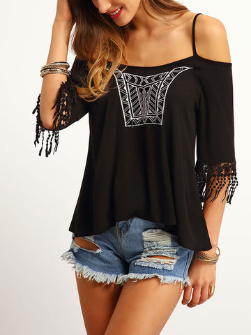 Women's Black Cold Shoulder Embroidered Top