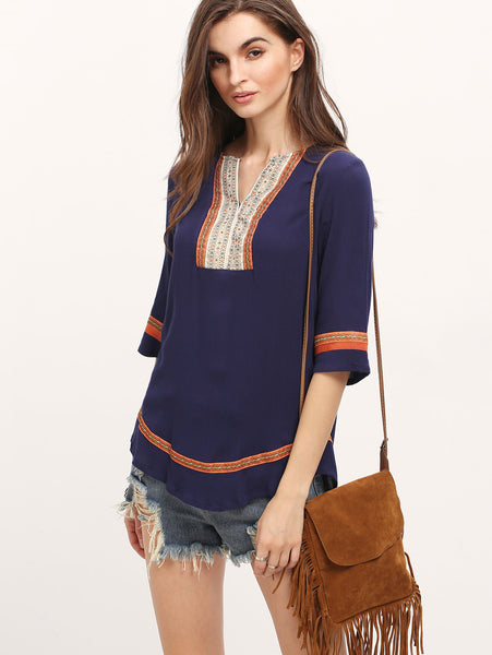 Trendtwo Women's Royal Blue Embroidered Loose Blouse