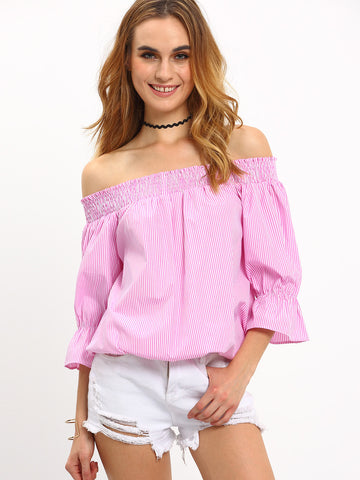 Trendtwo Women's Hot Pink Striped Convertible Bow Blouse