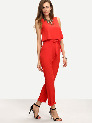 Women's Red Sleeveless Bow Tie Waist Jumpsuit