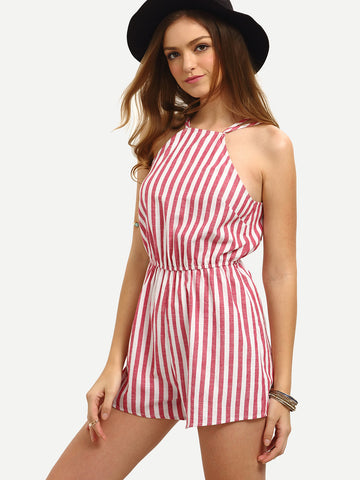 Trendtwo Women's Multicolor Sleeveless Vertical Striped Jumpsuit