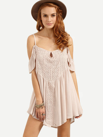 Trendtwo Women's Apricot Cold Shoulder Lace Overlay Dress