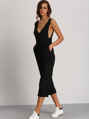 Women's Black Deep V Neck Jumpsuit